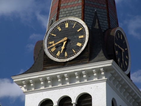 Clock on Steeple of Old New England Church